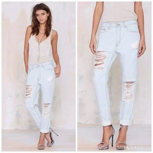 Nasty Gal Boyfriend Distressed Denim Jeans